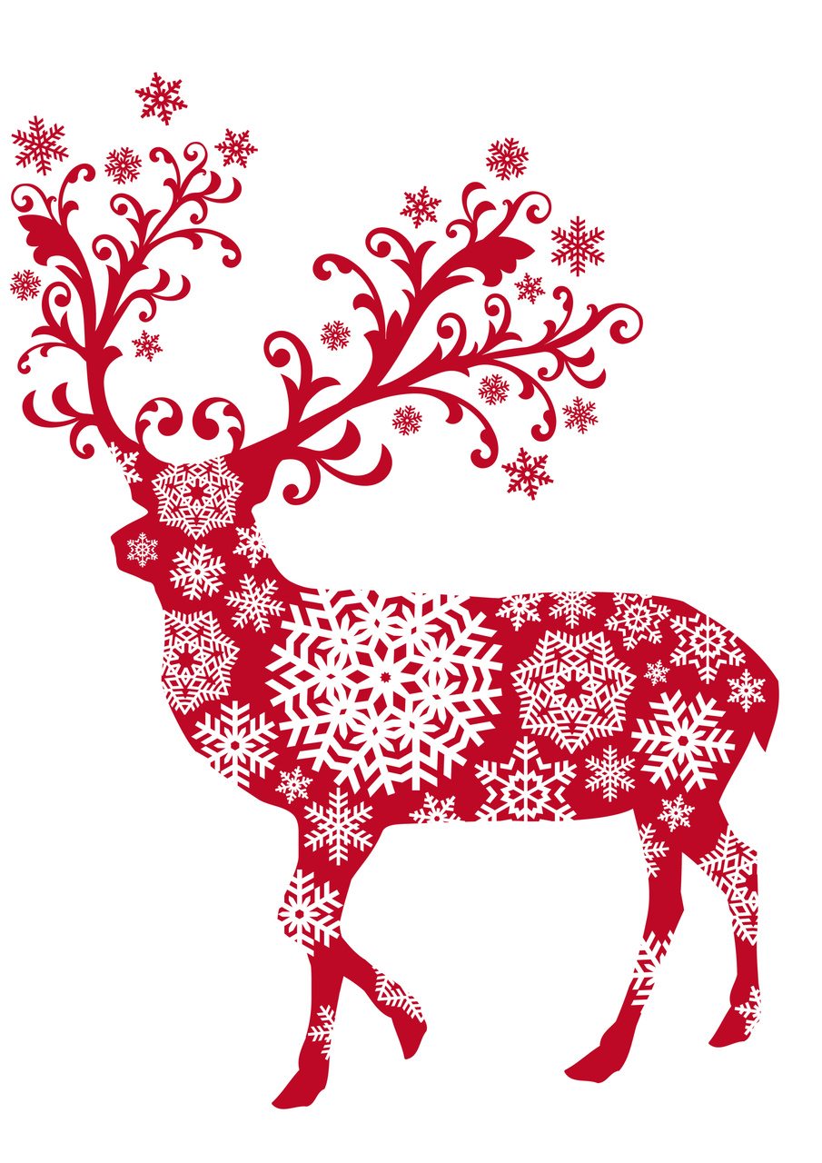 Christmas deer with ornaments and snowflakes, vector | 365