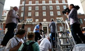 Photographers gather in front of the Lindo Wing of St Mary's Hospital