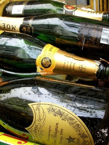 empty champagne bottles